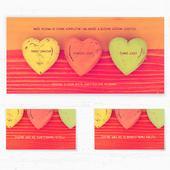 Svatební oznámení 143 - Tři barevná srdce,