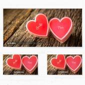 Svatební oznámení 126 - Srdce na dřevě,