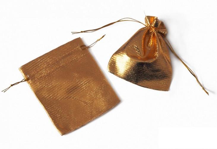 Taštičky pytlíčky zlaté 8x10cm 10ks - Obrázek č. 1