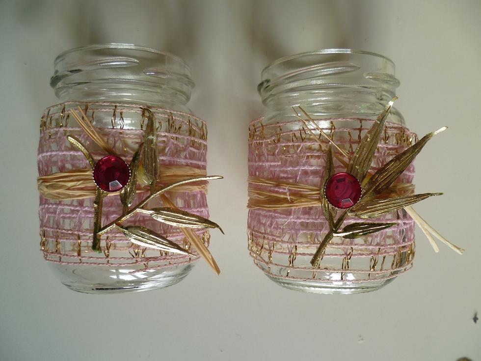 Skleněné svícny na svíčky růžová zlatá cena za kus - Obrázek č. 1