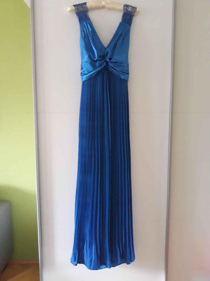 Šaty pro družičky společenské modré M 38 40 - Obrázek č. 1