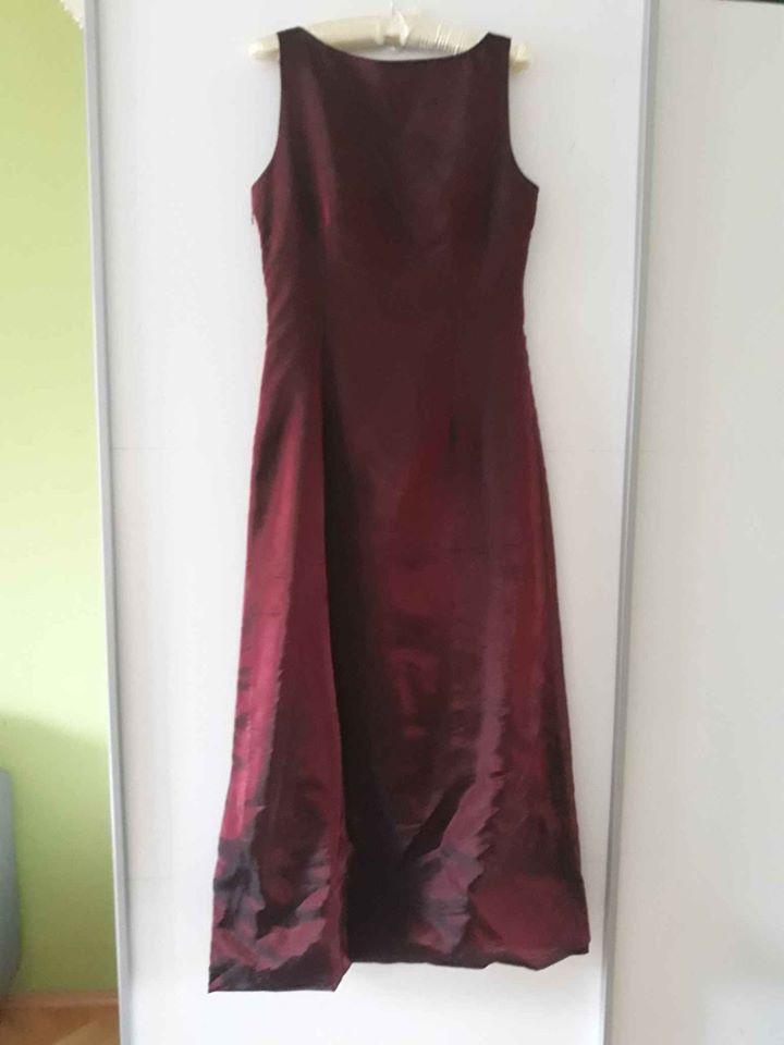 Šaty společenské pro družičky vínové M 38 40 - Obrázek č. 1