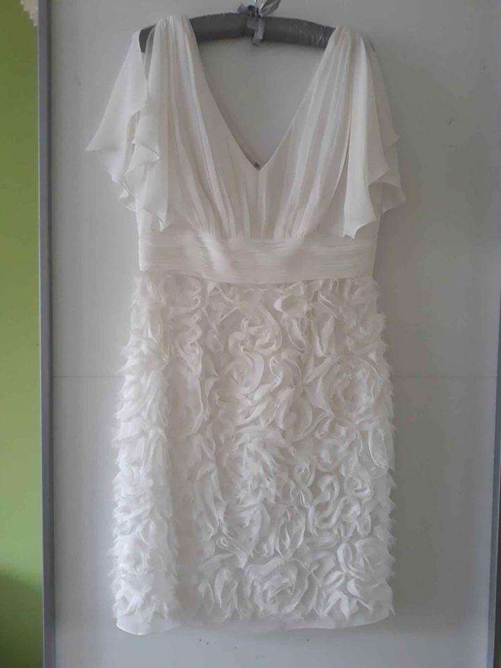 Šaty společenské svatební do kolen bílé 38 40 - Obrázek č. 1
