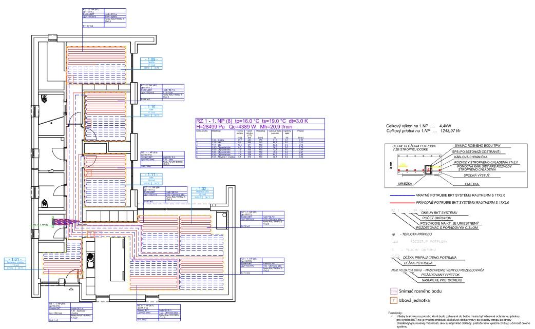 Rodinný dom - Návrh stropného chladenia BKT