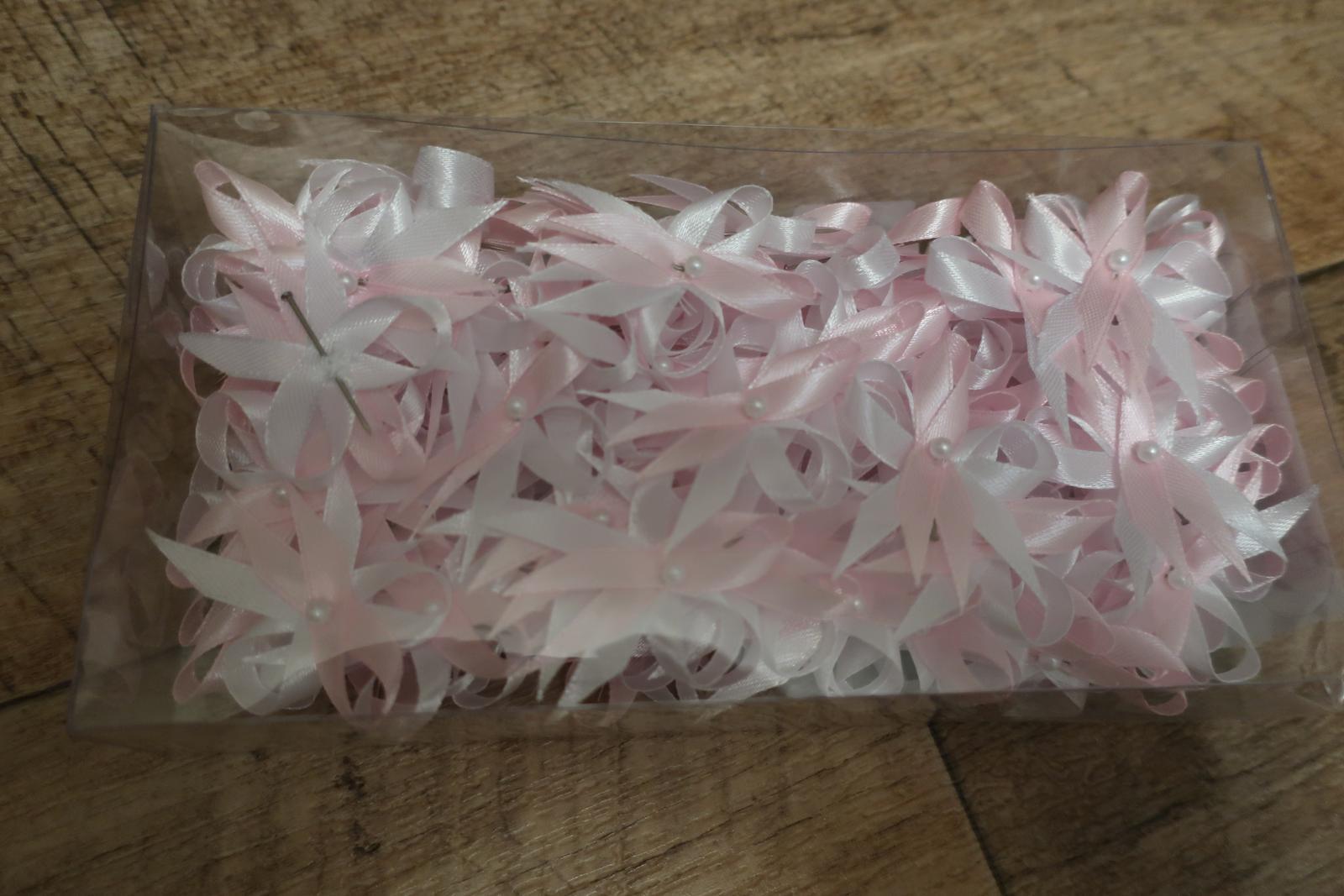 Bílo - světle růžové vývazky 100 ks - Obrázek č. 2
