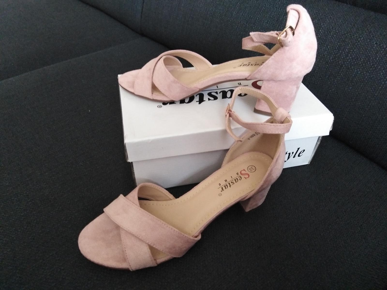 Sandálky na sloupkovém podpatku růžové - Obrázek č. 1