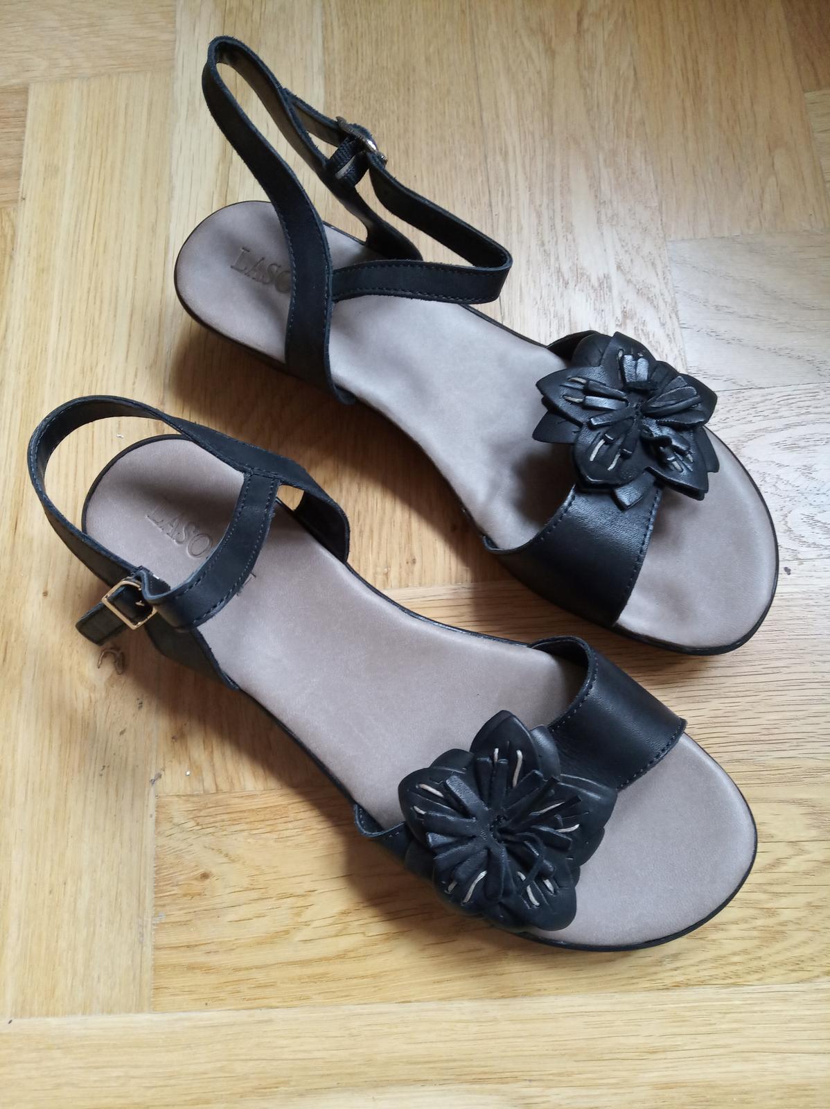 Černé páskové sandále na klínku dámské 39 - Obrázek č. 1