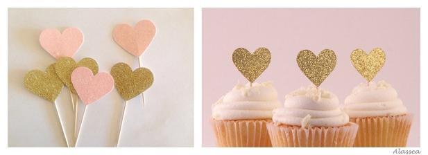 ..třpytivé srdíčkové zápichy ve zlaté a růžové hotovy :)