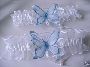 Butterfly Blue White Wedding Garters Set