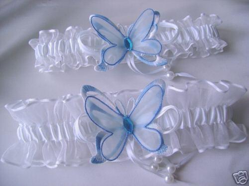 25. august nie je az tak daleko...:) - Butterfly Blue White Wedding Garters Set