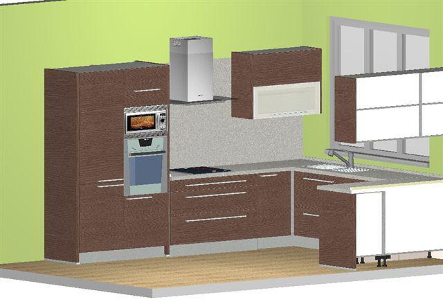 Navrhy kuchyn - 2. navrh - Decodom - priatel chcel tmavu linku so sivou dosku... mne sa to moc ale nepozdava :P
