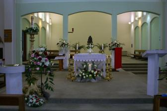 Inside of our church, recently decorated, this picture shows it set up for Easter