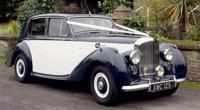 Our car booked for the Wedding - Bentley Mark VI, Navy and Ivory, our colour theme