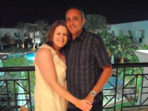 On the balcony in the restaurant in Egypt where h2b proposed