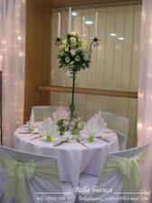 vyzdoba stolov v zelenom - taka bude aj nasa :)