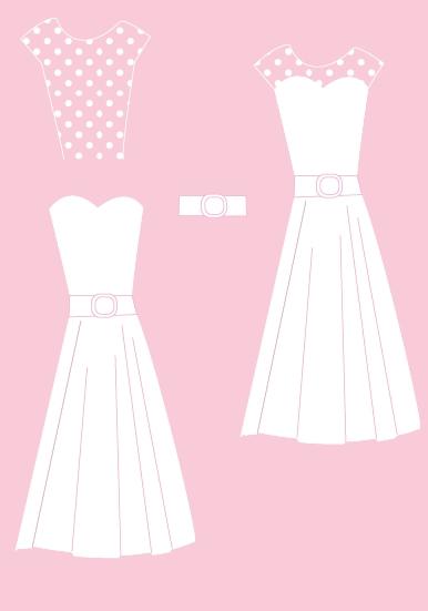 Naše malá puntíkovaná svatba - Schéma svatebních šatů na obřad