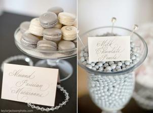 Moc hezké - stoleček se sladkostmi (namísto perliček budou mandle v bílé čokoládě a s bílou polevou)