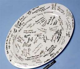 Místo knihy hostů - talíř