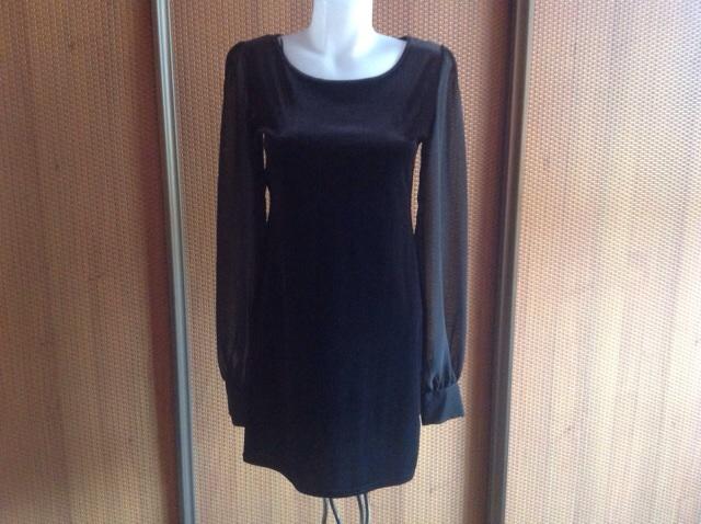 Zamatové šaty s priesvitnými rukávmi New look - Obrázok č. 1