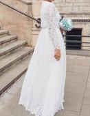 Boho/vintage bílé krajkové svatební šaty, 40