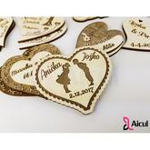 Aicul svadobné magnetky - Veľmi vhodný predmet ako výslužka pre všetkých Vašich hostí na svadbe - krásna pamiatka na svadobný deň  Hrúbka materiálu: 3 mm  Cena: 1,50 €/ks / 41,- Kč/ks (pri objednávke min 50ks)