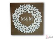Luxusný drevený abstraktný obraz s Vašími iniciálm,