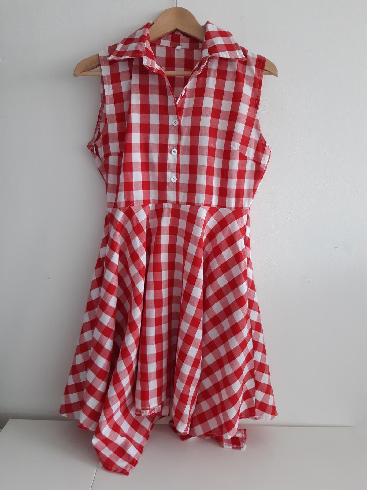 červené kostkované šaty - Obrázek č. 1