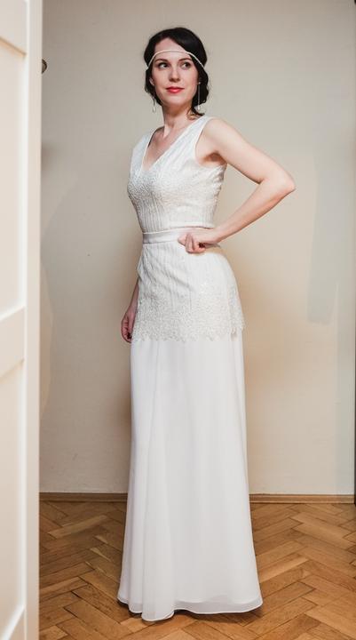 Svadobné šaty v štýle Great Gatsby, veľ. 36-38 - Obrázok č. 3