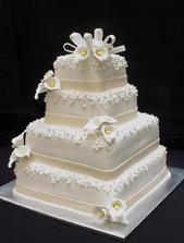 """Tohle bude náš svatební dort, jen bude mít 3 patra a kaly a """"stužky"""" na jednotlivých patrech budou ve stejné barvě jako kaly ve svatební kytici"""