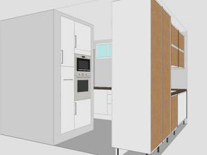 Návrh kuchyně - z druhé strany tohoto panelu s troubou bude krb