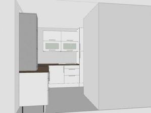 pohled od jídelního stolu a obýváku (v té prázdné příčce bude krb)