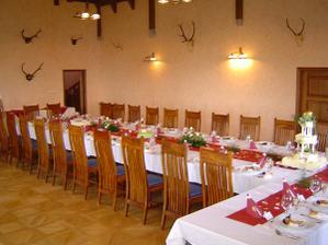 A rytířský sál, kde by měla být svatební párty s kapelou. Jen opět ta svatební tabule by měla být do modra ...