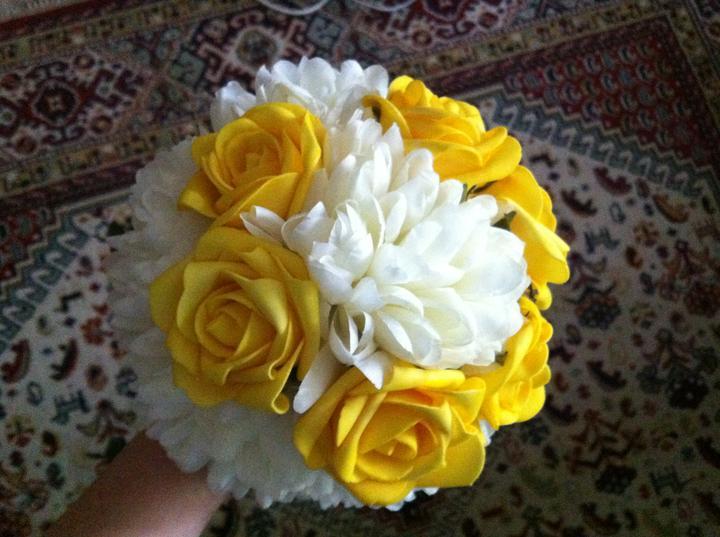 Netradiční svatební kytice - pěnové růžičky + polštářky pod prstýnky, košíčky - Obrázek č. 29