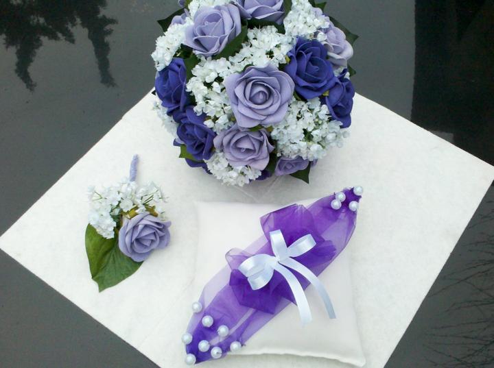 Netradiční svatební kytice - pěnové růžičky + polštářky pod prstýnky, košíčky - Obrázek č. 31