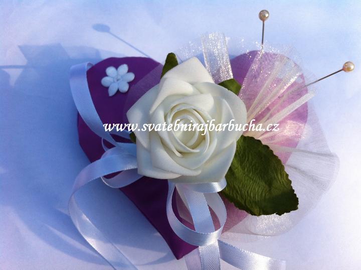 Netradiční svatební kytice - pěnové růžičky + polštářky pod prstýnky, košíčky - Obrázek č. 40