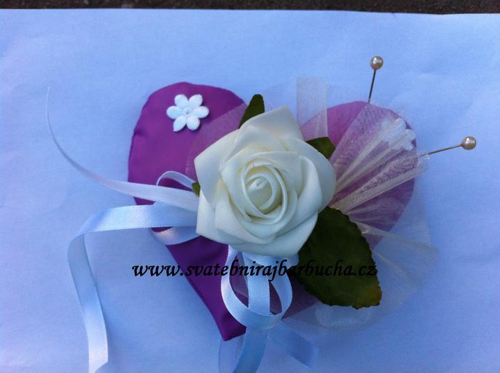 Netradiční svatební kytice - pěnové růžičky + polštářky pod prstýnky, košíčky - Obrázek č. 41