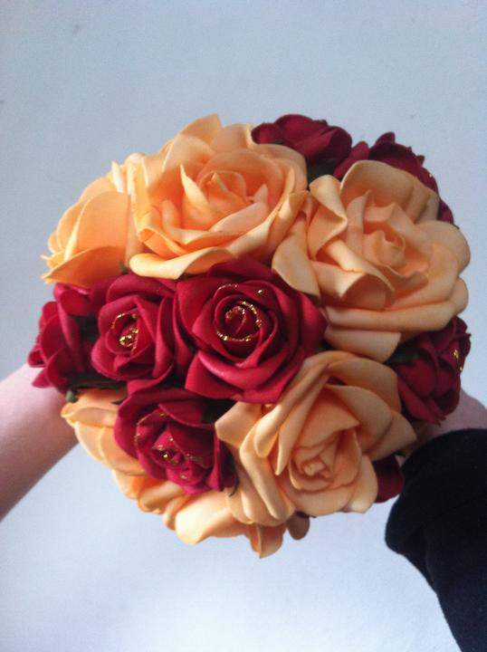 Netradiční svatební kytice - pěnové růžičky + polštářky pod prstýnky, košíčky - Obrázek č. 45