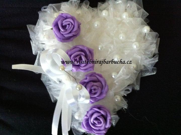 Netradiční svatební kytice - pěnové růžičky + polštářky pod prstýnky, košíčky - Obrázek č. 49