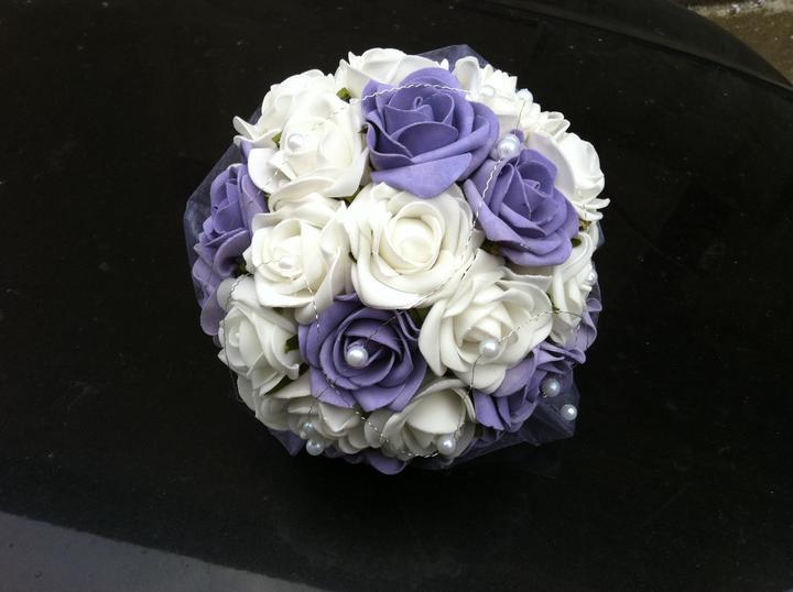 Netradiční svatební kytice - pěnové růžičky + polštářky pod prstýnky, košíčky - Obrázek č. 50
