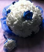 Svatební kytice + korsáž / KRÁLOVSKÁ MODRÁ,