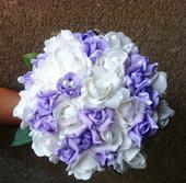 Svatební kytice +korsáž - lila,