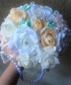 Svatební kytice+korsáž -bílo- meruňkovo růž.-mint,