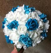 Svatební kytice + korsáž- modrá,