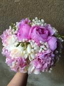 Svatební kytice + korsáž - růžová,