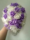 Svatební kytice+ korsáž - lila - převislá,