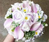 Svatební kytice + korsáž - umělé květiny,