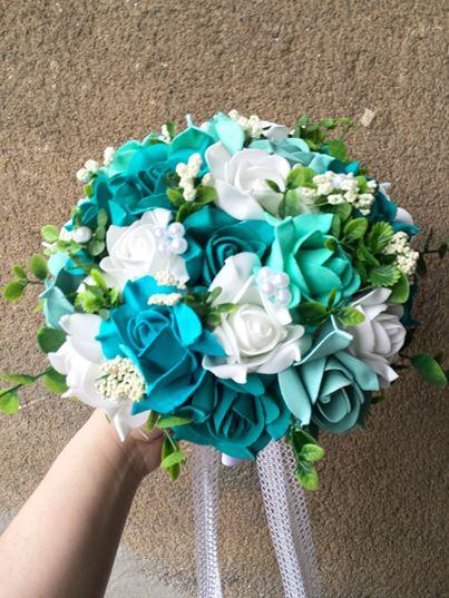 Svatební kytice a korsáž- tyrkysová - Obrázek č. 1