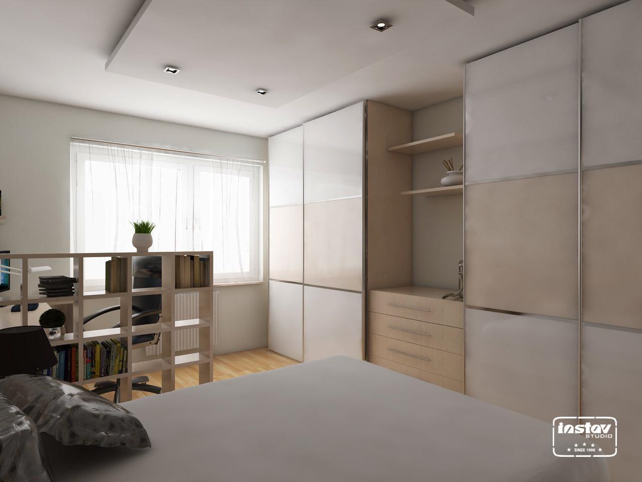 Vizualizácie interiérov - Vizualizácia spálne s pracovňou