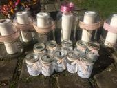 Vázičky a venkovní sklenice na svíčky,