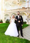 Princeznovské svatební šaty + závoj 2,5 m zdarma, 38